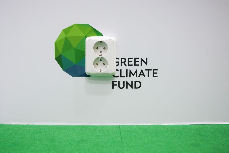 A socket at Green Climate Fund stand on the last day of COP 24, the 24th Conference of the Parties to the United Nations Framework Convention on Climate Change.