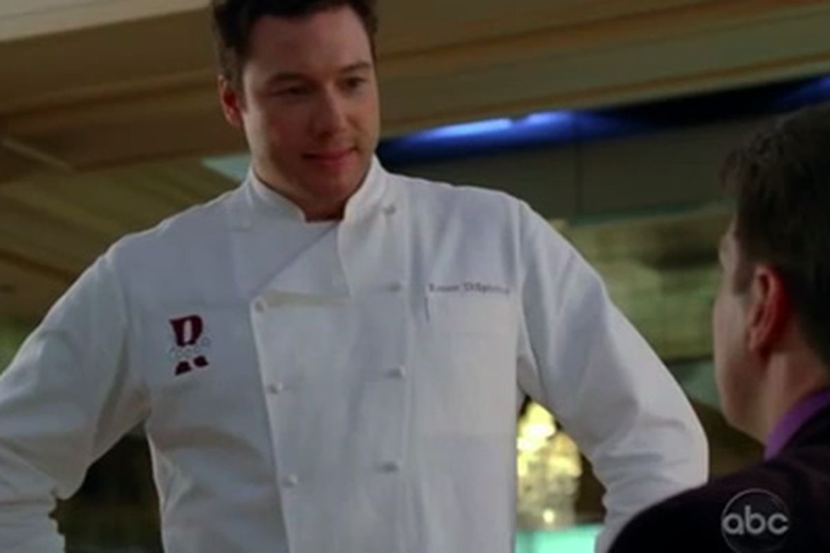"""<a href=""""http://eater.com/archives/2010/05/04/the-chefcentric-episode-of-castle-death-by-molecular-gastonomy-plus-a-rocco-dispirito-cameo.php"""">Rocco playing himself on Castle</a>"""