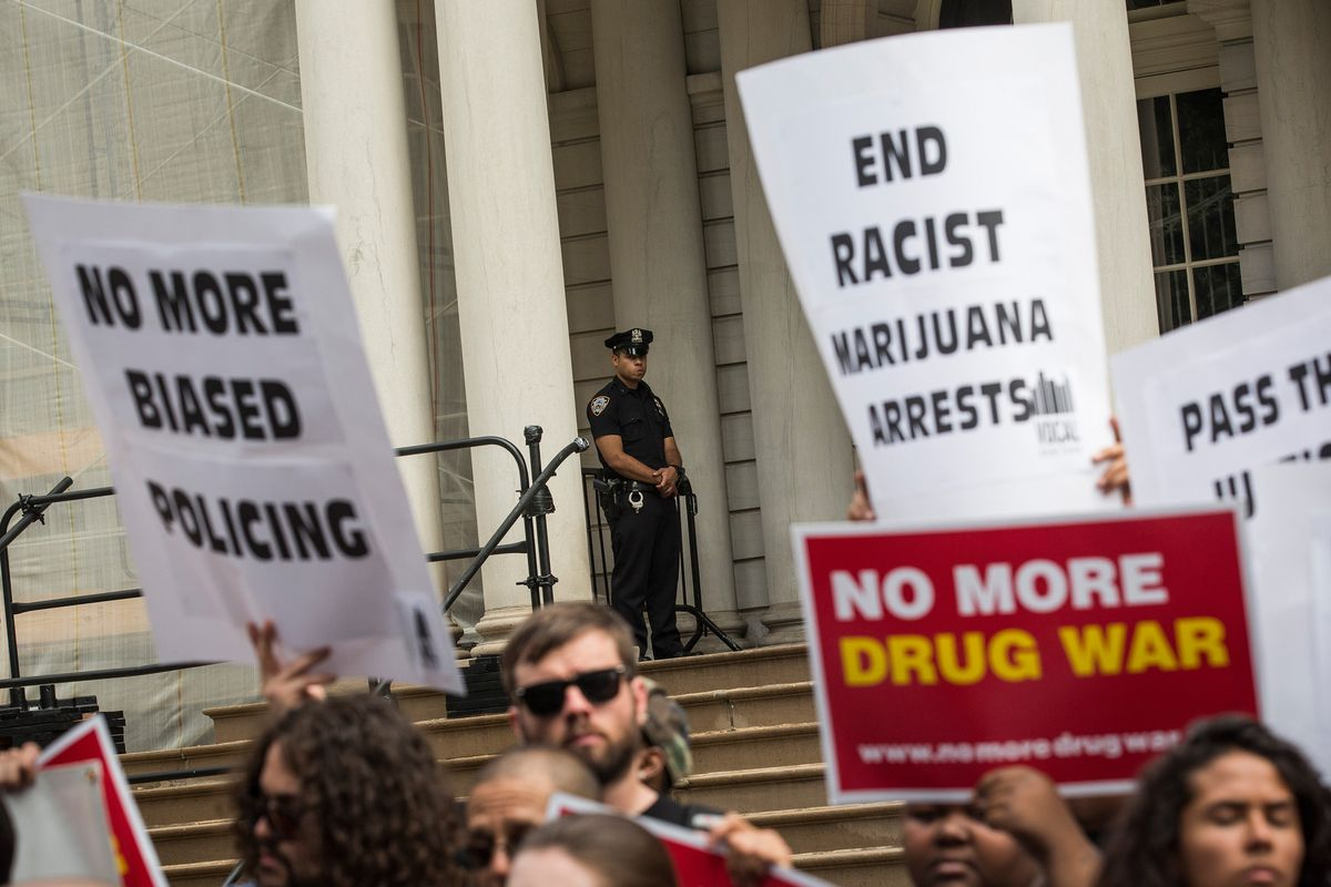 A protest against the war on drugs in New York City.