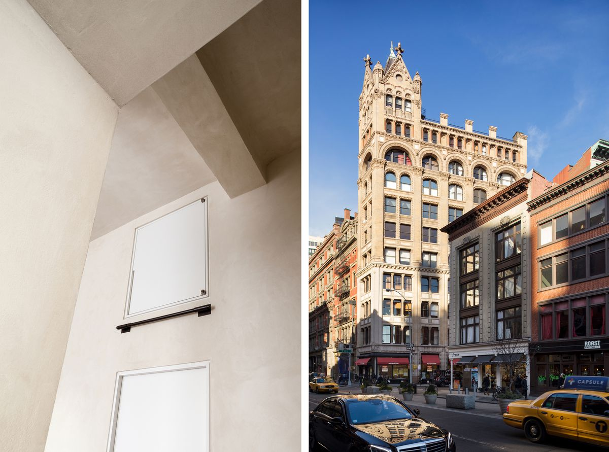 A photo of the high cabinet above the door and an exterior photo of the ornate building.