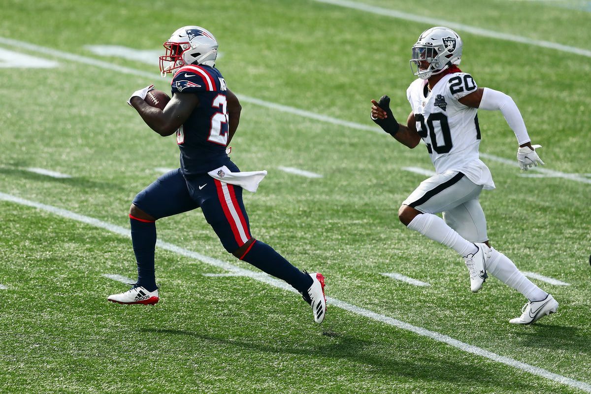 Sony Michel #26 of the New England Patriots runs with the ball during the second half against the Las Vegas Raiders at Gillette Stadium on September 27, 2020 in Foxborough, Massachusetts.