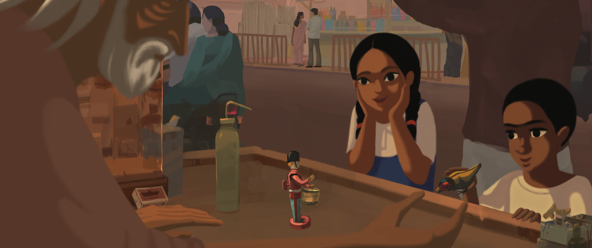 Two Indian children, a girl and boy, look at a wind-up toy soldier and bird in Bombay Rose