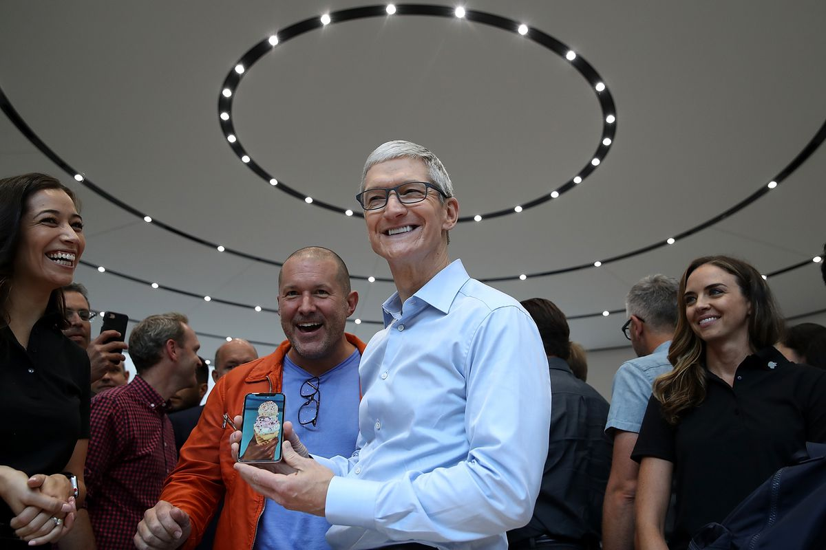 Apple's Jony Ive and Tim Cook at the iPhone X launch in 2017