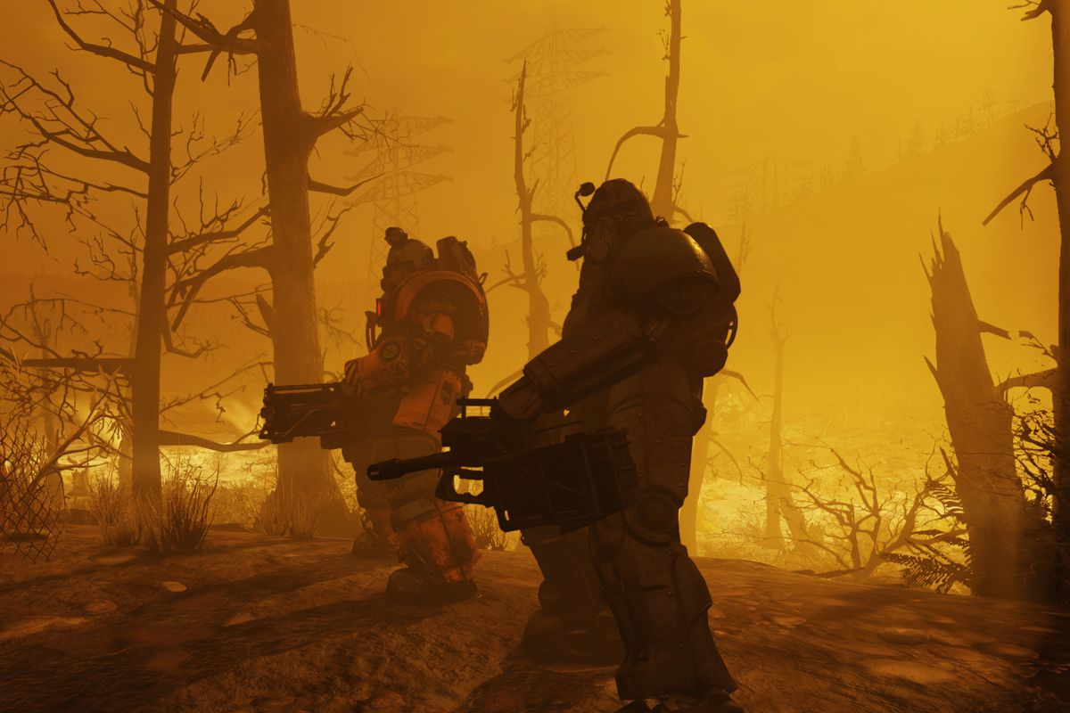 Fallout 76 beta - post-nuclear landscape with two soldiers