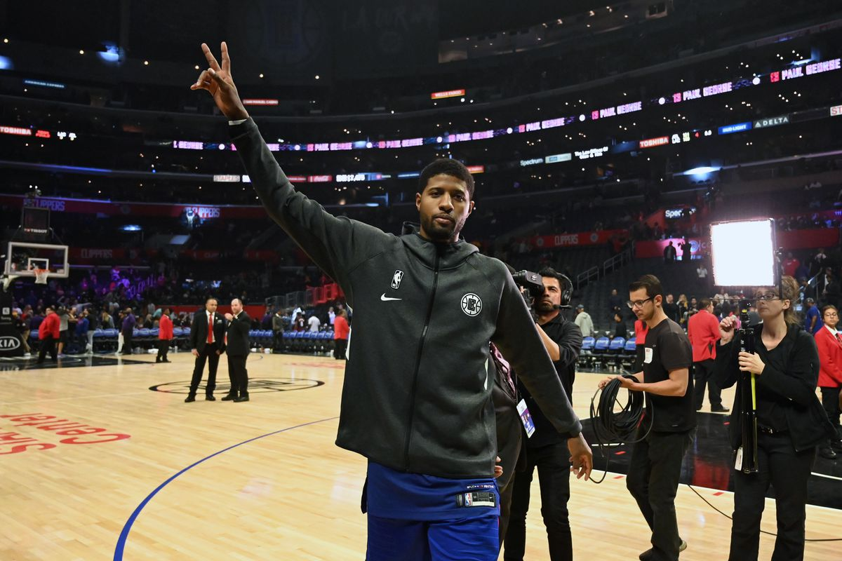 LA Clippers forward Paul George waves to the crowd after the game against the Atlanta Hawks at Staples Center. The Clippers defeated the Hawks 150-101 for the largest margin of victory in franchise history.