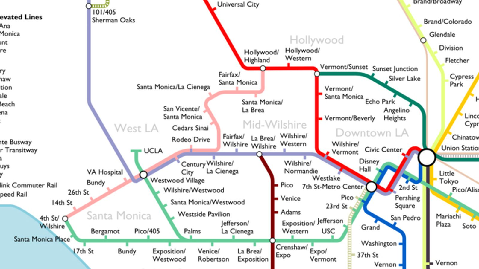 La Metro Rail Map The Most Optimistic Possible LA Metro Rail Map of 2040   Curbed LA
