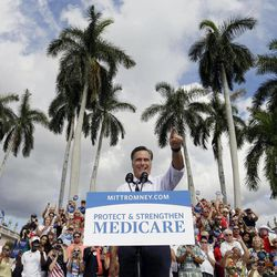 Republican presidential candidate and former Massachusetts Gov. Mitt Romney campaigns at the Ringling Museum of Art in Sarasota, Fla.,  Thursday, Sept. 20, 2012.
