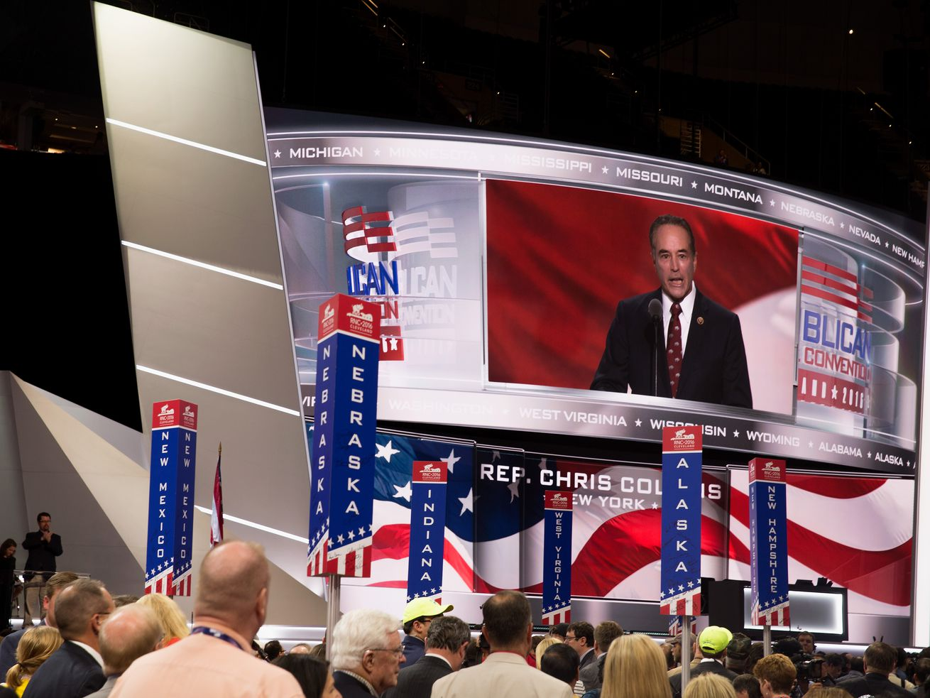 Rep. Chris Collins speaks at the second day of the Republican National Convention on July 19, 2016, at the Quicken Loans Arena in Cleveland.