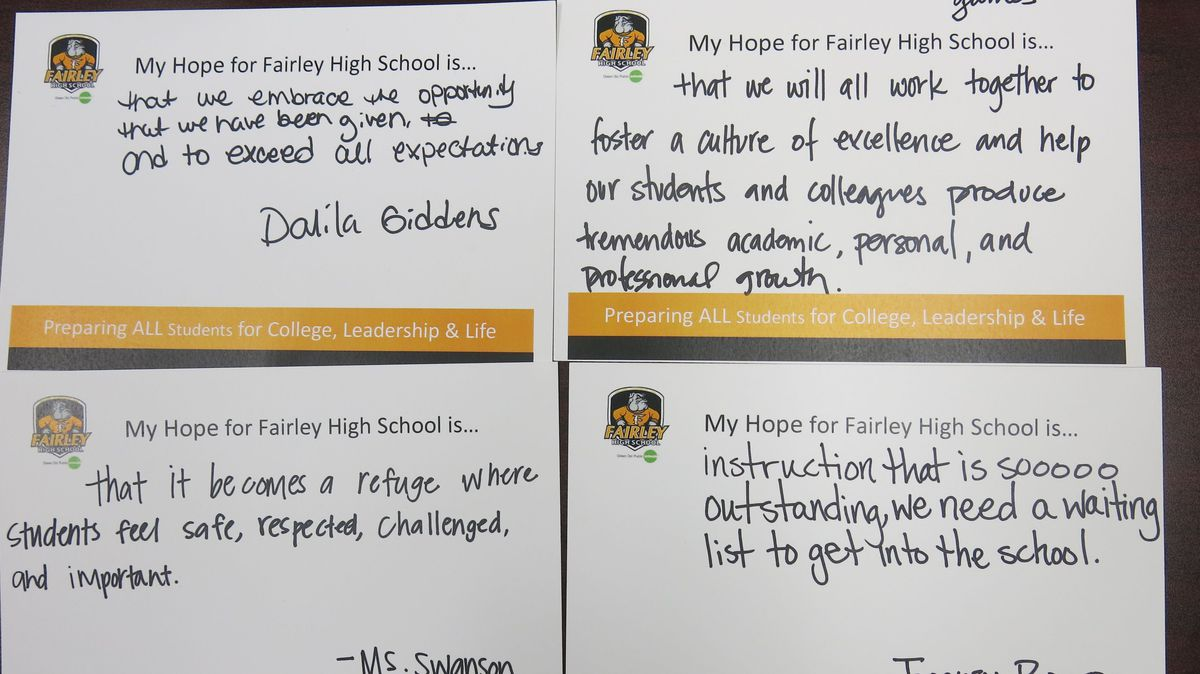 Fairley High School teachers wrote resolutions for the new year.