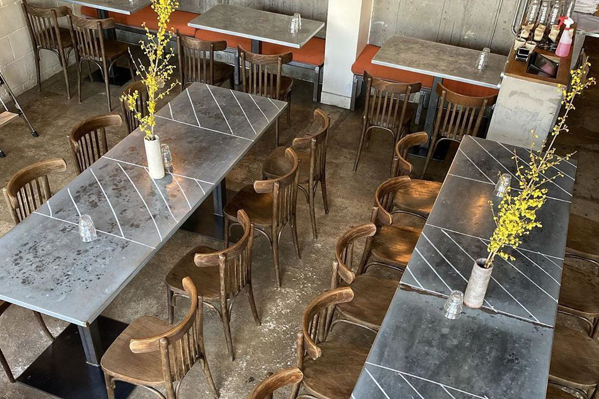 A London dining room with tables marked out for coronavirus social distancing
