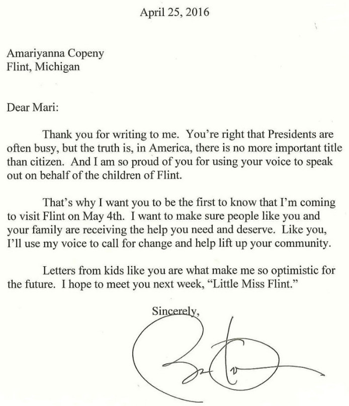 Read The Letter An 8 Year Old Flint Activist Sent To Persuade Obama
