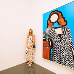 """Australian blogstar Jessica Stein of <a href=""""http://www.tuulavintage.com/=""""_blank"""">Tuula Vintage</a> posing by Julian Opie's piece (2011)."""