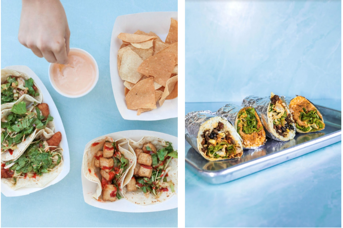 Five tacos and chip and salsa on the left and four burritos on the right on a metal serving tray from Yumbii in Atlanta