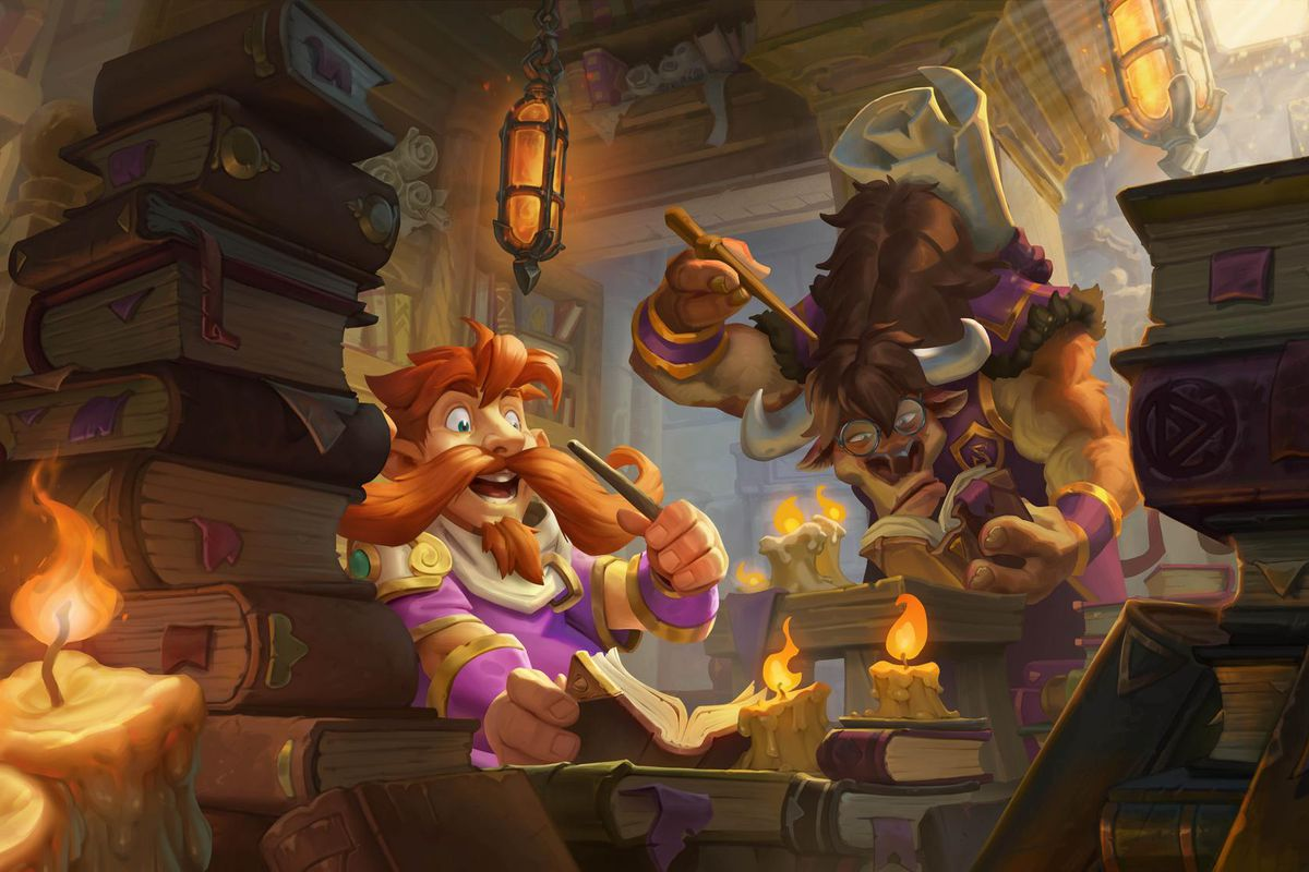 Hearthstone - a tauren and a gnome at Scholomance Academy look through a mysterious book