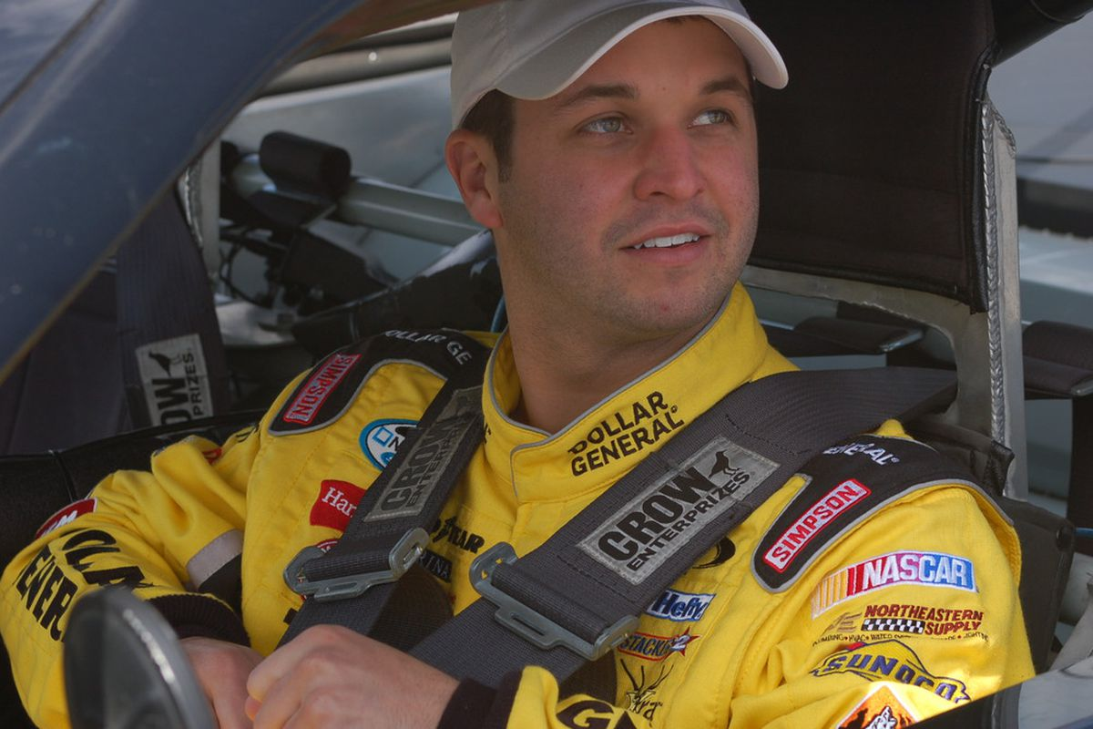 NASCAR Nationwide Series driver Reed Sorenson straps into a Richard Petty Driving Experience machine at Nashville Superspeedway