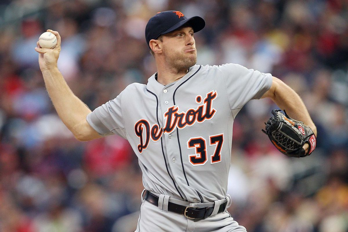 May 26, 2012; Minneapolis, MN, USA: Detroit Tigers starting pitcher Max Scherzer (37) delivers a pitch in the first inning against the Minnesota Twins at Target Field. Mandatory Credit: Jesse Johnson-US PRESSWIRE