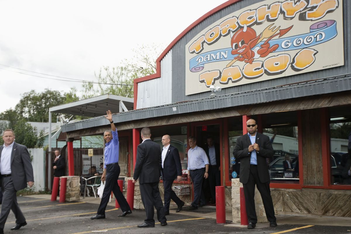President Barack Obama outside of the Torchy's Tacos on South 1st