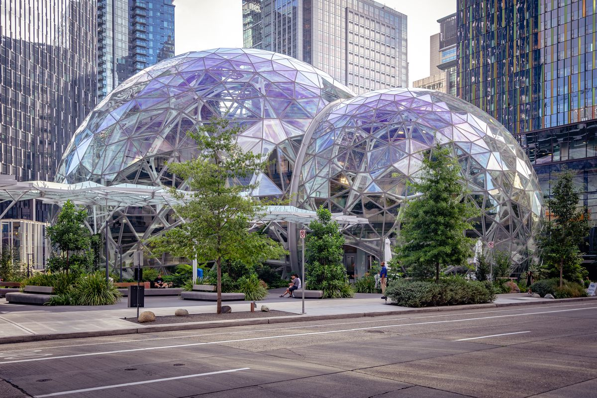A view of the Amazon Spheres in Downtown Seattle