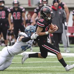 Action in the 4A state championship football game between Sky View and Park City at Rice-Eccles Stadium in Salt Lake City on Friday, Nov. 22, 2019.