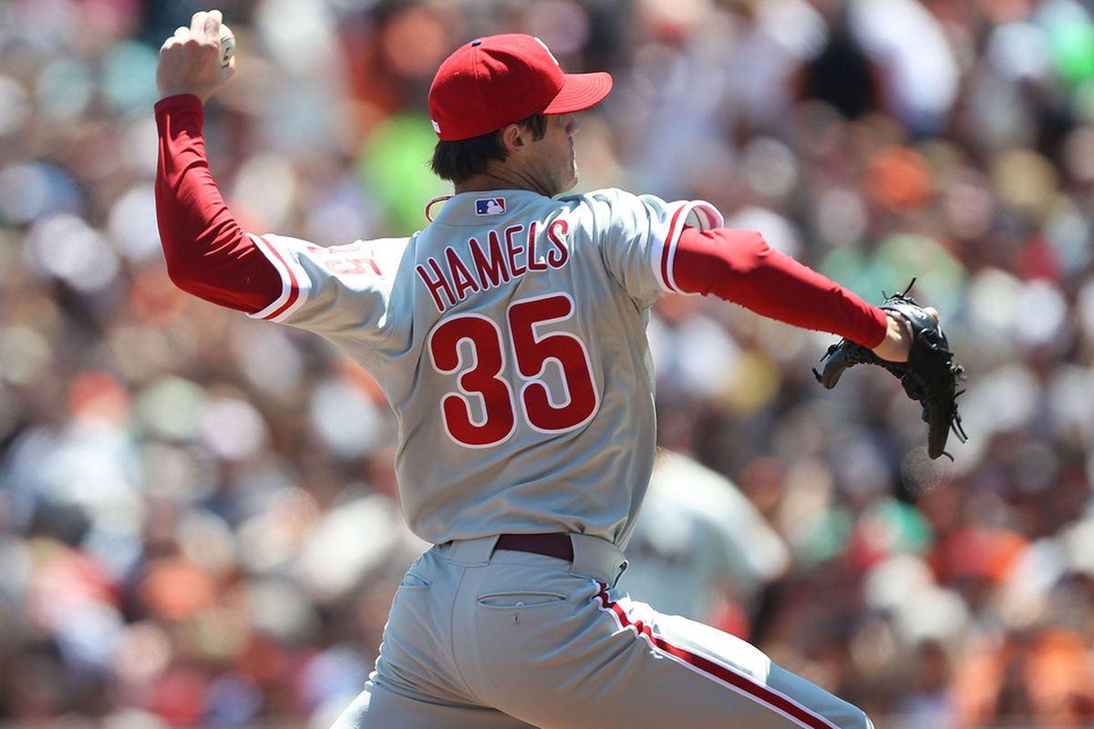 SAN FRANCISCO, CA - AUGUST 06:  Cole Hamels #35 of the Philadelphia Phillies pitches against the San Francisco Giants at AT&T Park on August 6, 2011 in San Francisco, California.  (Photo by Jed Jacobsohn/Getty Images)