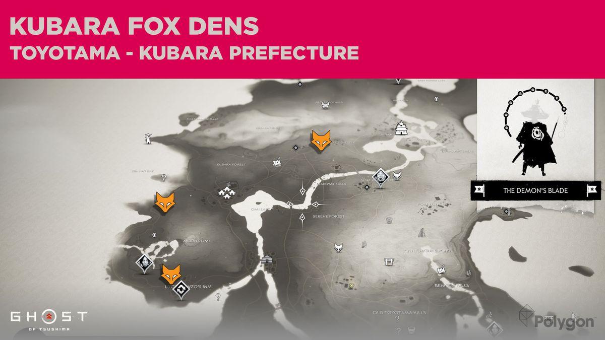 Fox Den locations in Kubara in Ghost of Tsushima