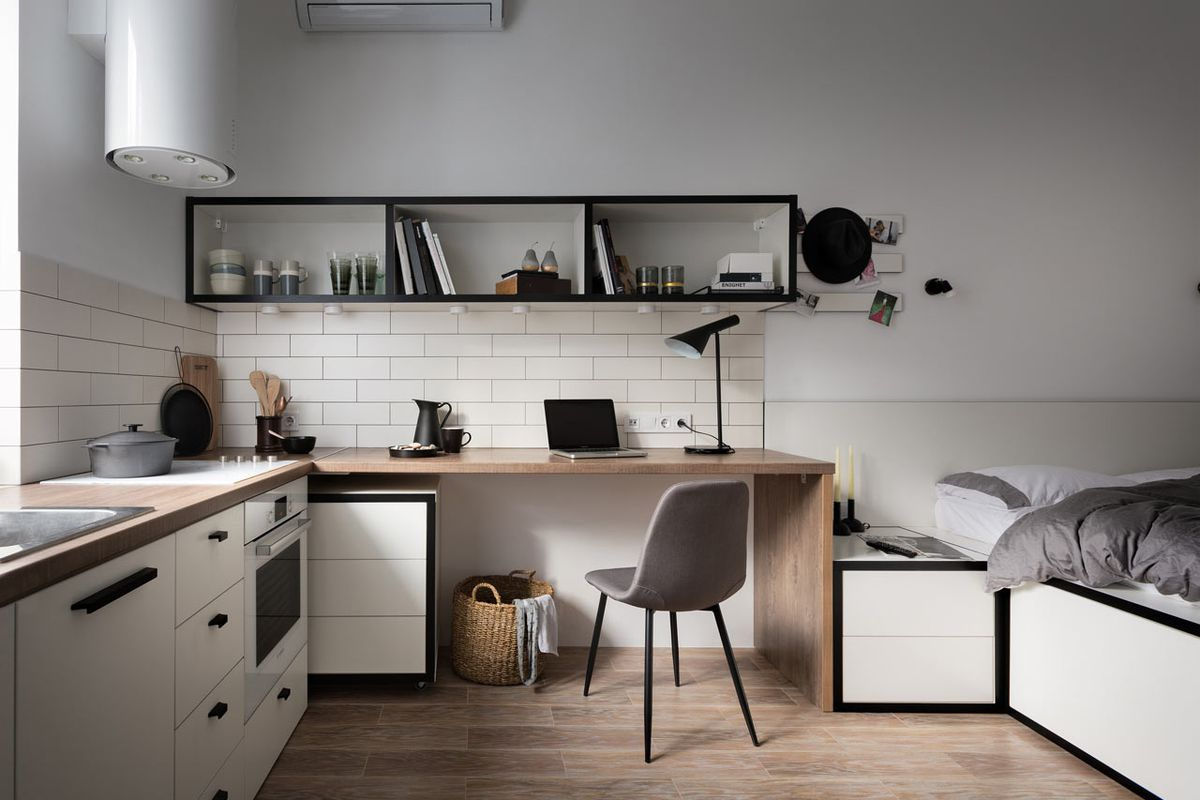 Stylish studio apartment measures just 186 square feet ...
