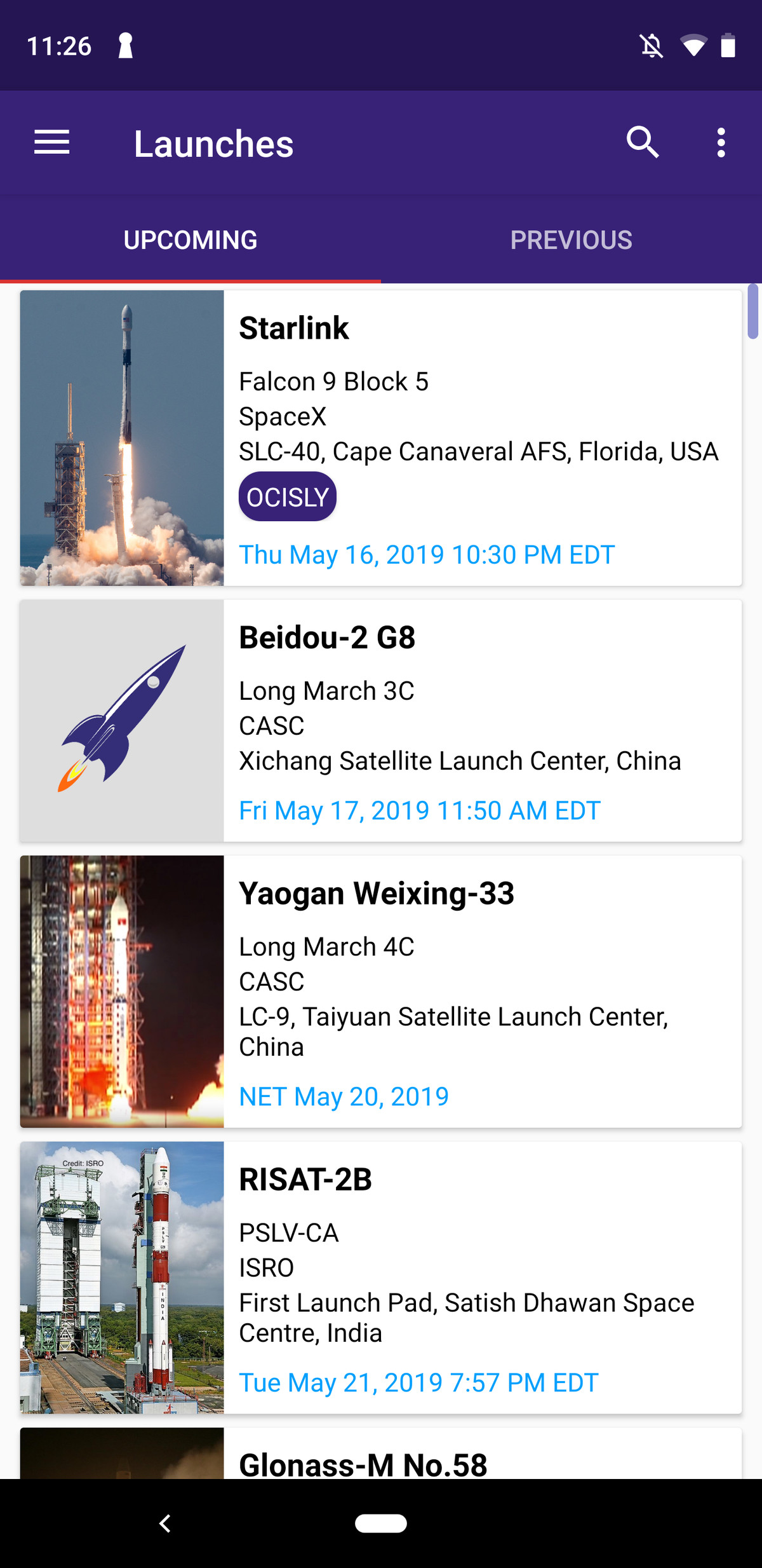Next space launch launches