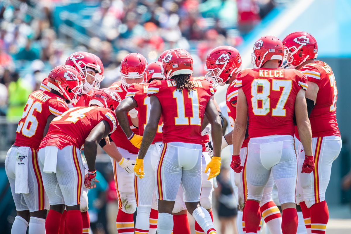 The Kansas City Chiefs huddle during a game against the Jacksonville Jaguars at TIAA Bank Field on September 08, 2019 in Jacksonville, Florida.