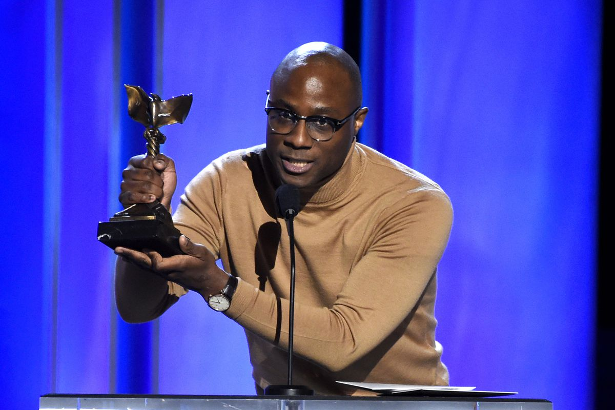 """In a Saturday, Feb. 23, 2019 file photo, Barry Jenkins accepts the award for best director for """"If Beale Street Could Talk"""" at the 34th Film Independent Spirit Awards, in Santa Monica, California."""