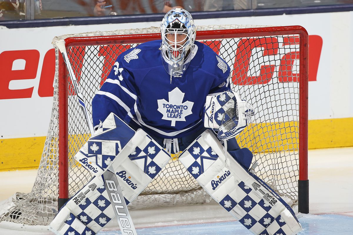 Garret Sparks in goal for the Toronto Maple Leafs