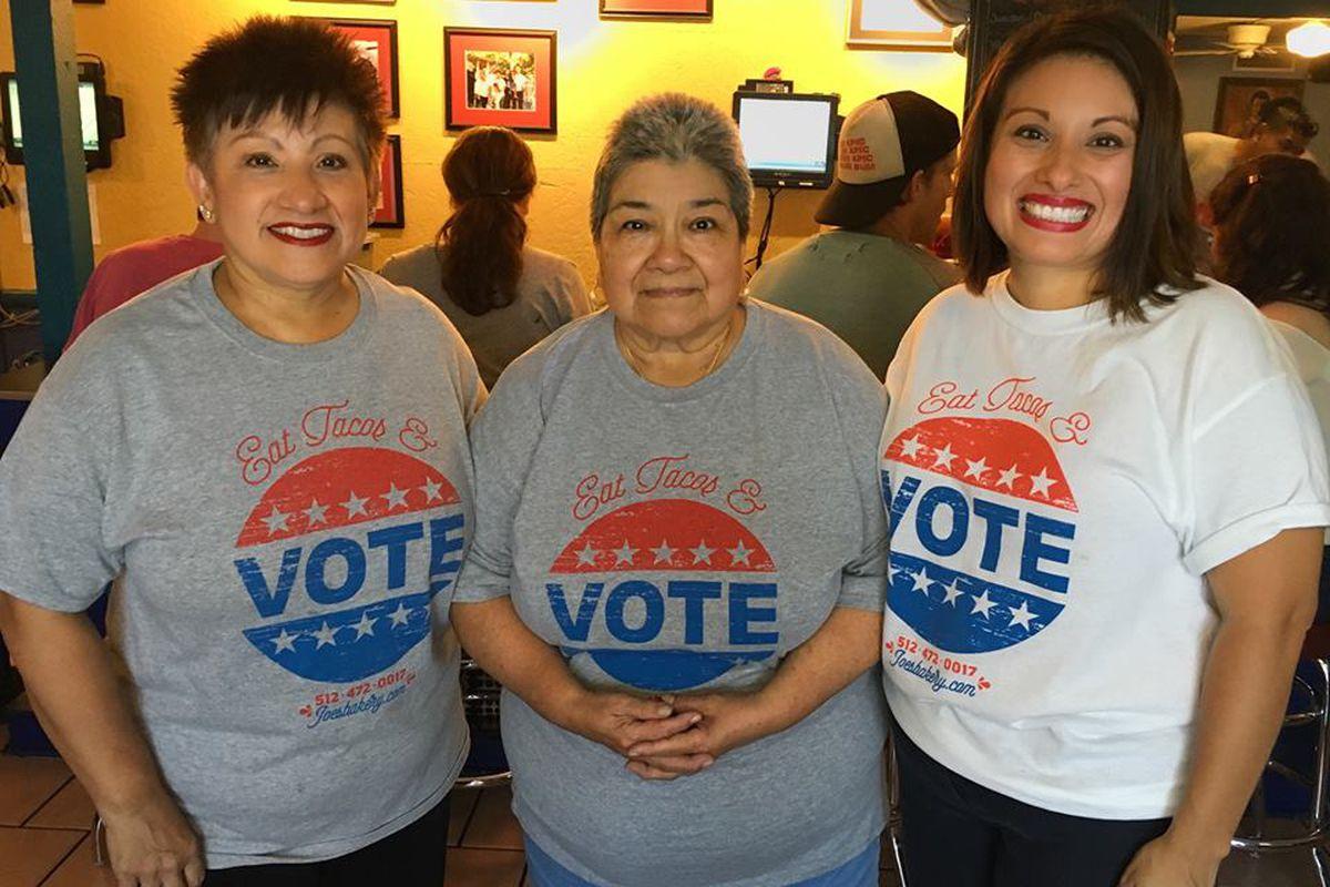 Registering voters at Joe's Bakery