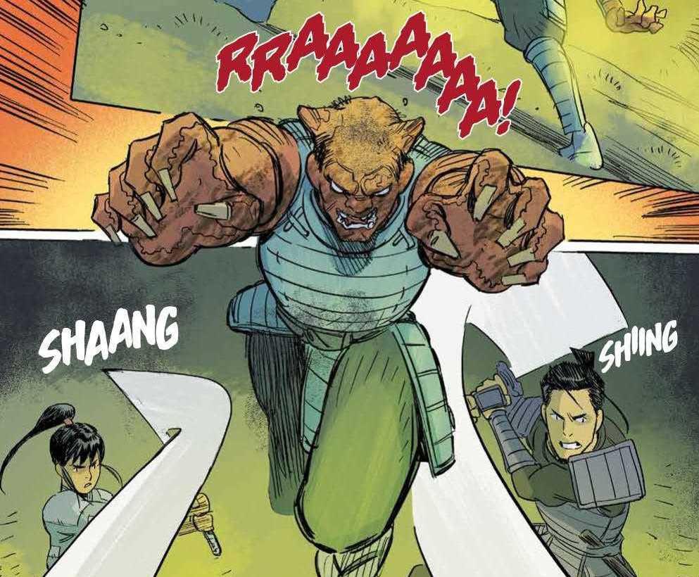 A samurai-fungal-zombie byonin leaps, growling, at Hana and Kenichi, in Ronin Island #9, Boom Studios (2020).