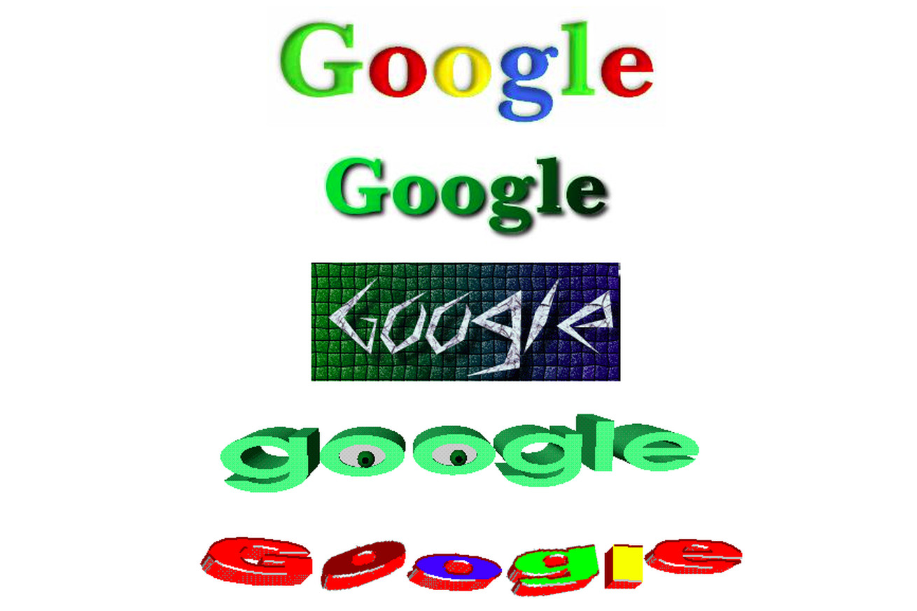 "Google ""stickers"" from a 1999 archive of its site."