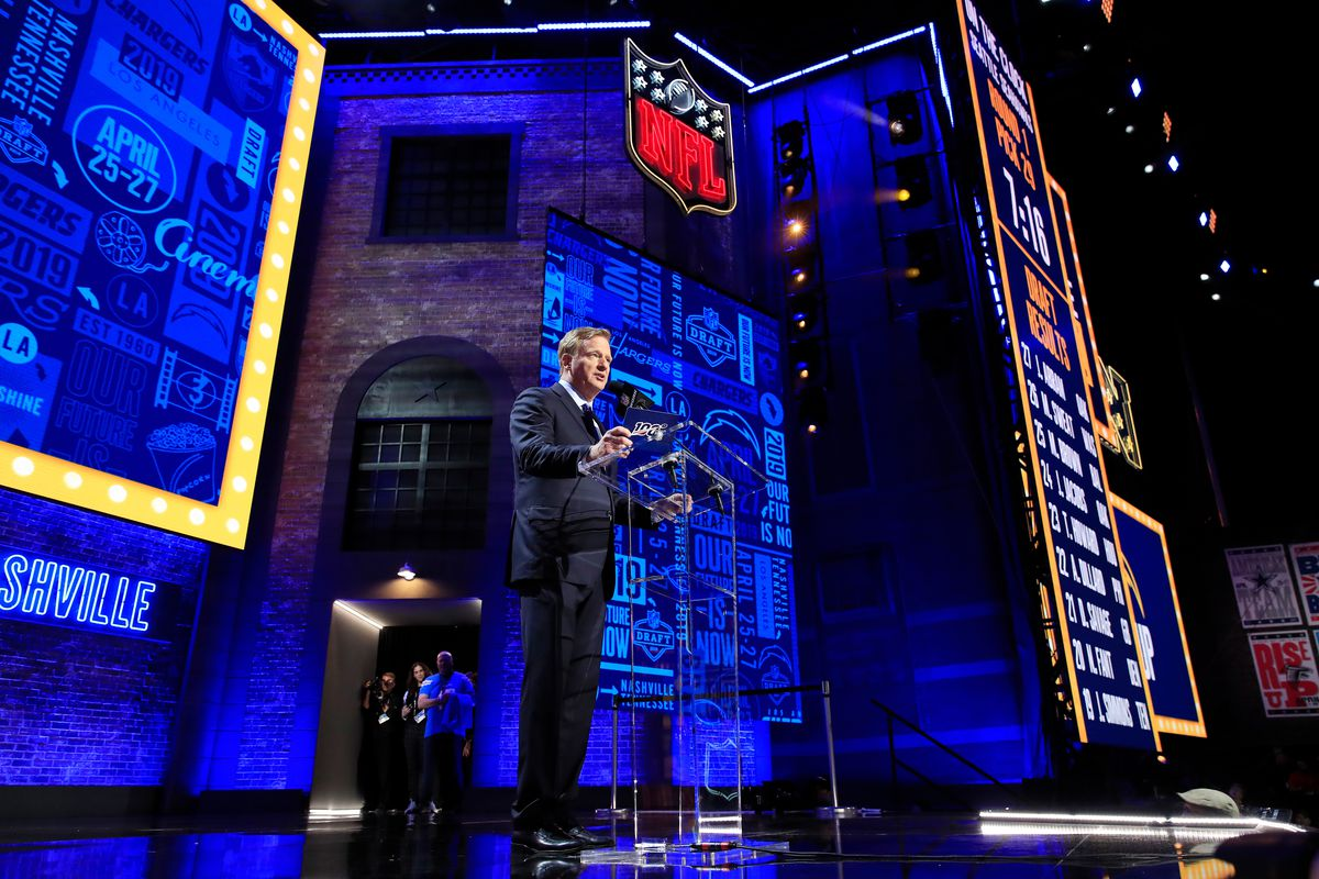 NFL Commissioner Roger Goodell speaks during the first round of the 2019 NFL Draft on April 25, 2019 in Nashville, Tennessee.