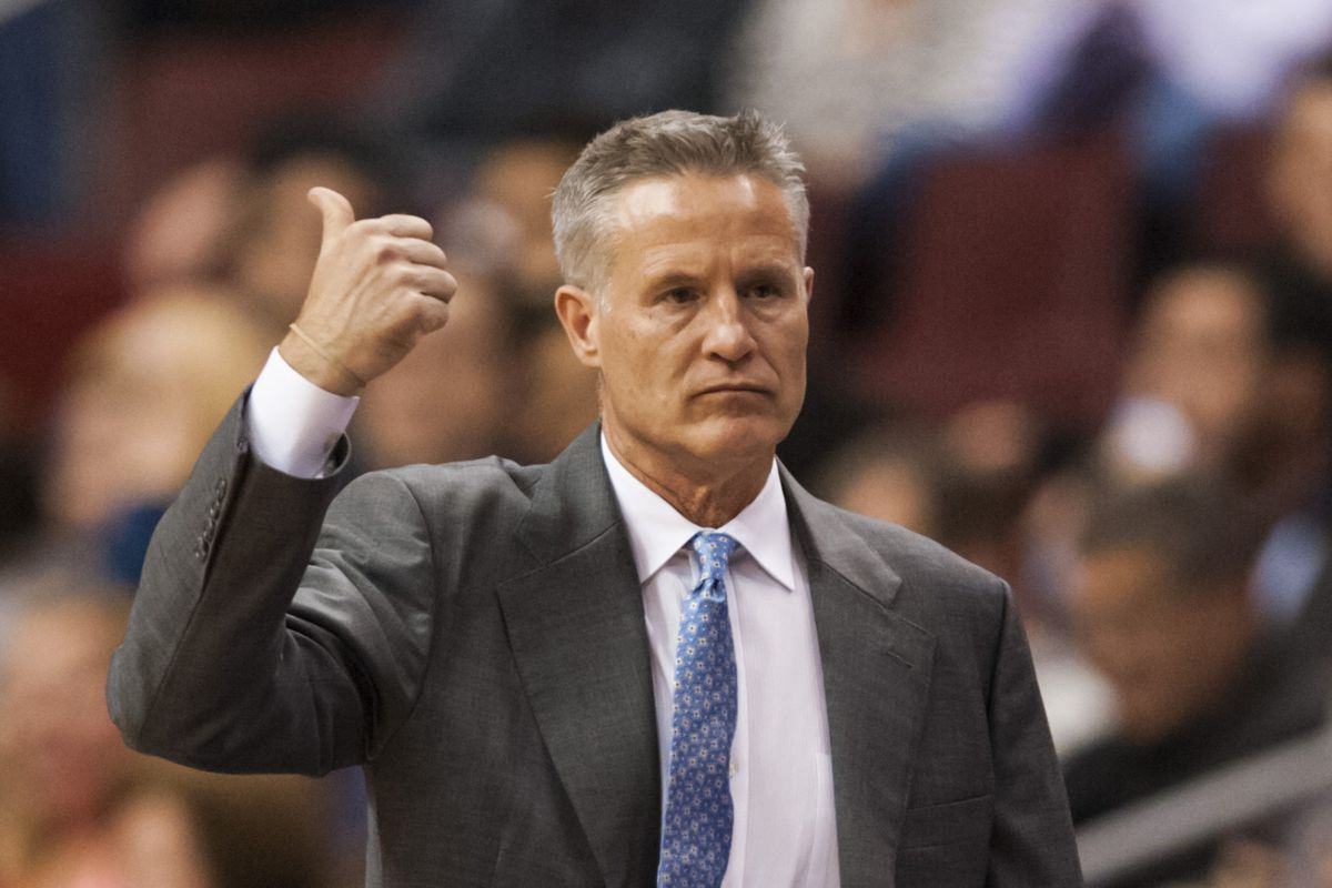 Brett Brown gives a thumbs-up to New Orleans cuisine.