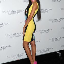 Model Selita Ebanks poses before the BCBG MAX AZRIA Spring 2013 collection is shown at Fashion Week in New York, Thursday, Sept. 6, 2012.