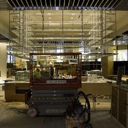 Construction in the kitchen area of Bacchanal Buffet.
