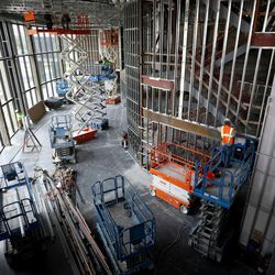 Construction continues in the lobby area of the Hale Centre Theatre in Sandy on Wednesday, Aug. 9, 2017.
