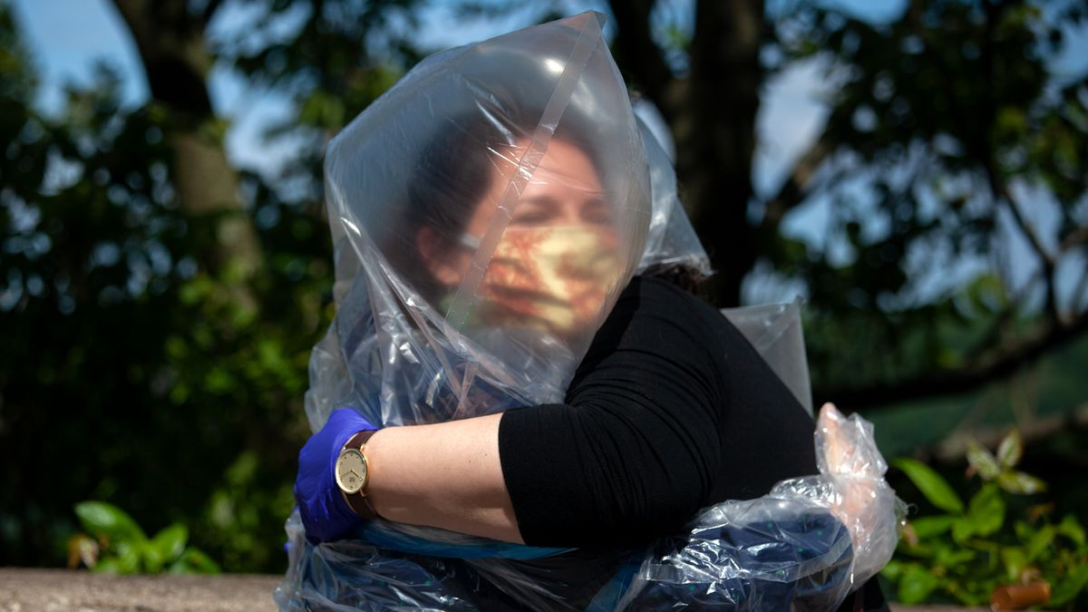 Upper Manhattan resident Carla Zanoni created a plastic suit to hug friends and family during the coronavirus outbreak, May 30, 2020.