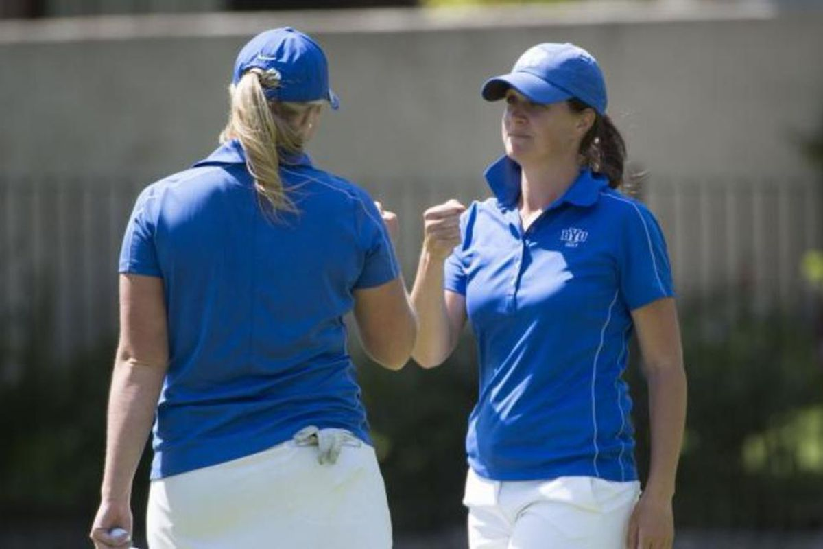 Members of the BYU women's golf team celebrate an outstanding round while qualifying for the 2019 NCAA Women's Golf Tournament. The Cougars were having another solid season in 2020 before it was canceled due to the COVID-19 scare