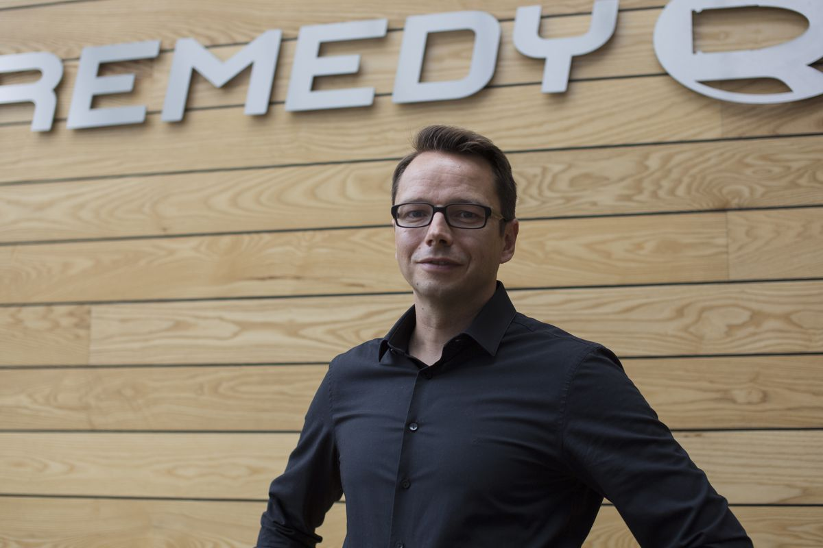 Tero Vitala, CEO of Remedy, stands at their offices