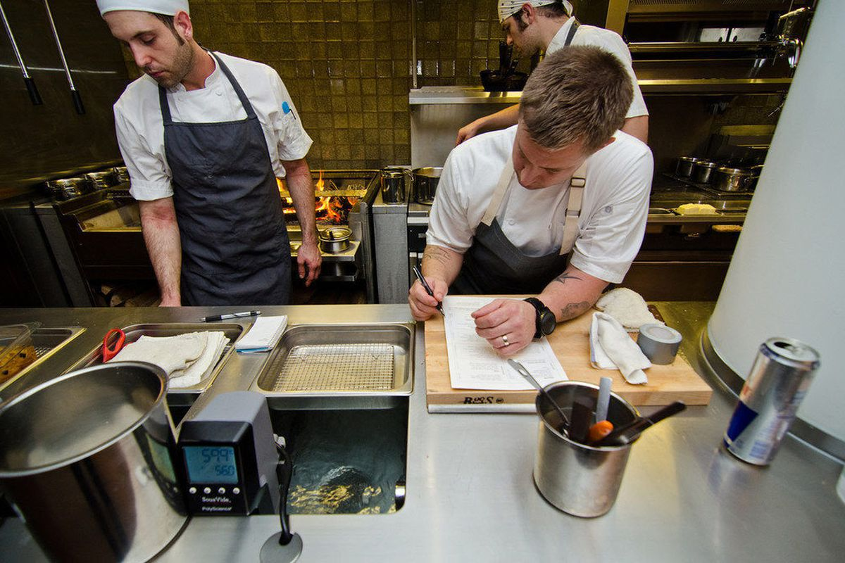 Bryan Voltaggio prepping for the first preview night of Range.