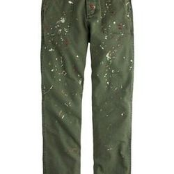 """J. Crew distressed painted cargo pant, <a href=""""https://www.jcrew.com/womens_category/pants/jcrewcollection/PRDOVR~A8193/A8193.jsp?srcCode=AFFI00001&siteId=J84DHJLQkR4-40O66pCC9LxSCpr8kTHKRQ"""">$119</a>"""