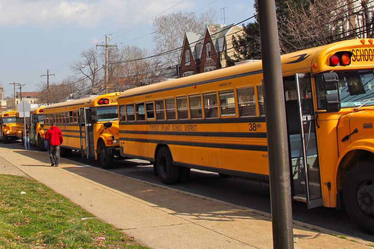A line of yellow school buses.