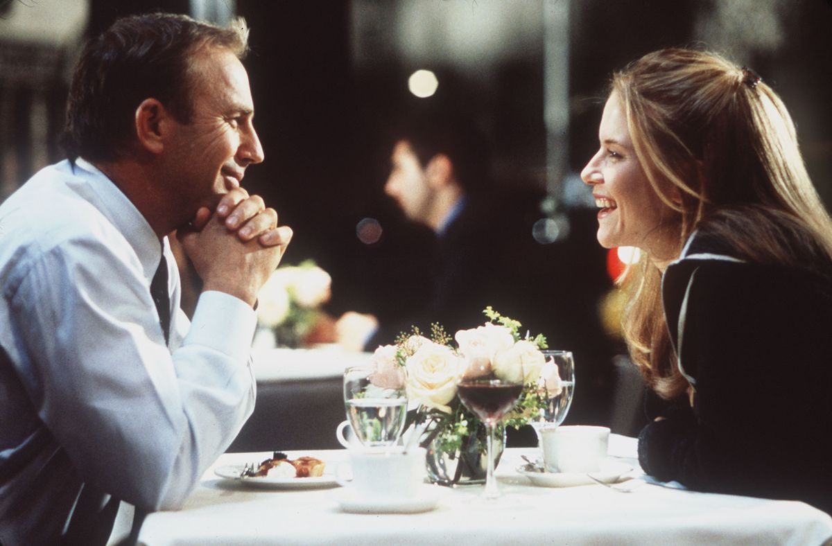 """Kevin Costner and Kelly Preston are shown in a scene from the 1999 film """"For Love of the Game."""""""