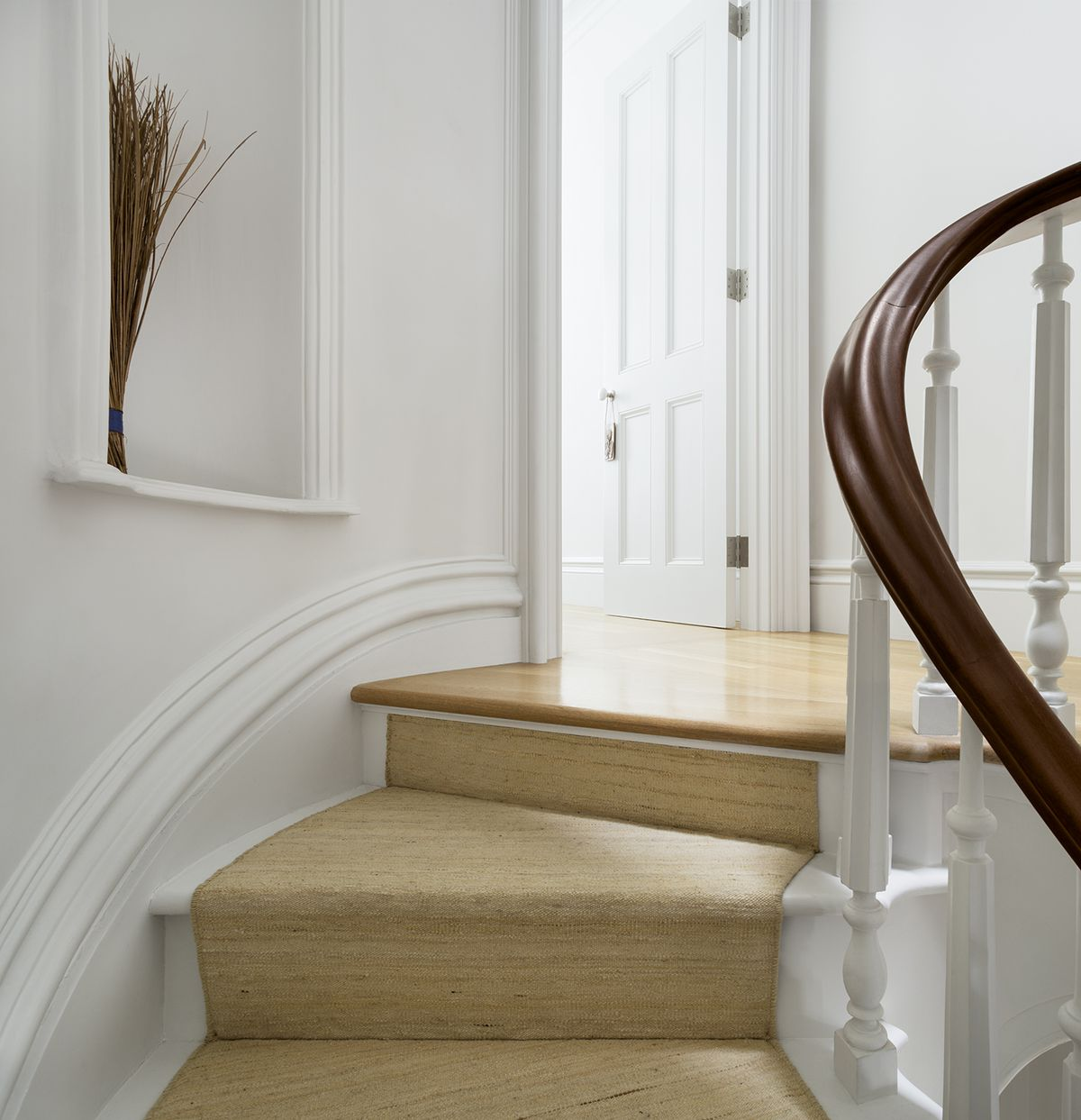 The curve to the stairwell was retained from the original design of the brownstone and the stairs were rebuilt.