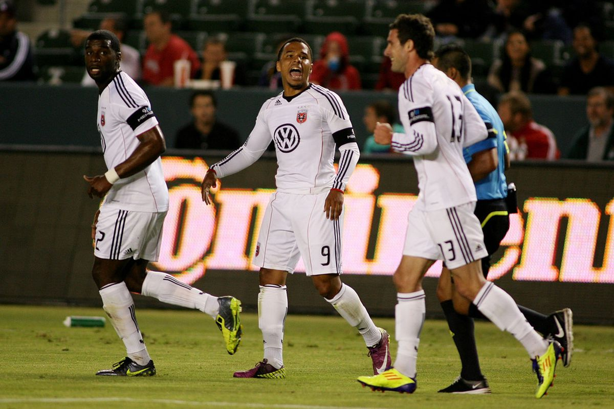 CARSON, CA - SEPTEMBER 10:  Charlie Davies #9 of D.C. United reacts after his second goal of the match against Chivas USA in the first half at The Home Depot Center on September 10, 2011 in Carson, California.  (Photo by Jeff Golden/Getty Images)