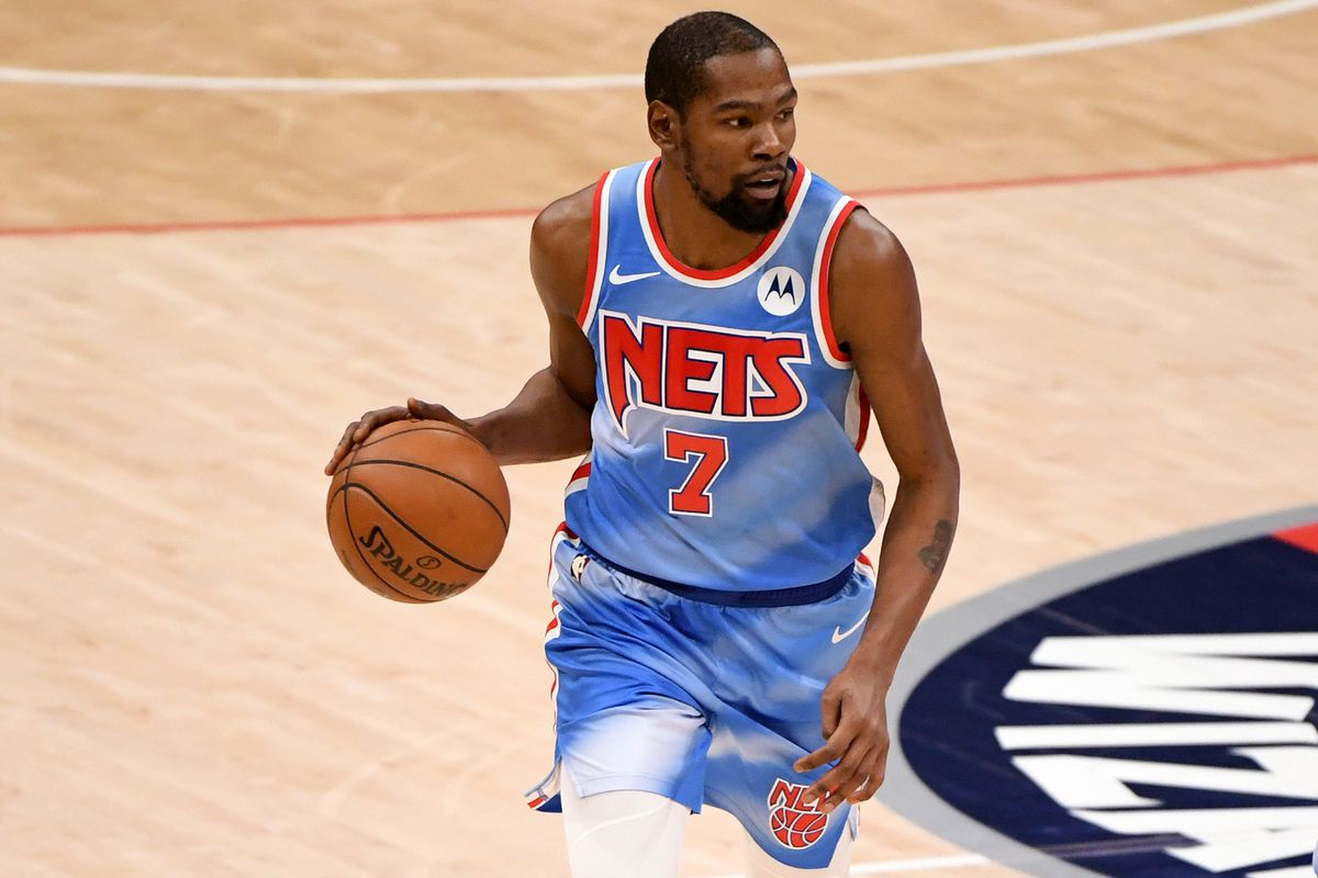 Kevin Durant #7 of the Brooklyn Nets dribbles against the Washington Wizards during the first half at Capital One Arena on January 31, 2021 in Washington, DC.