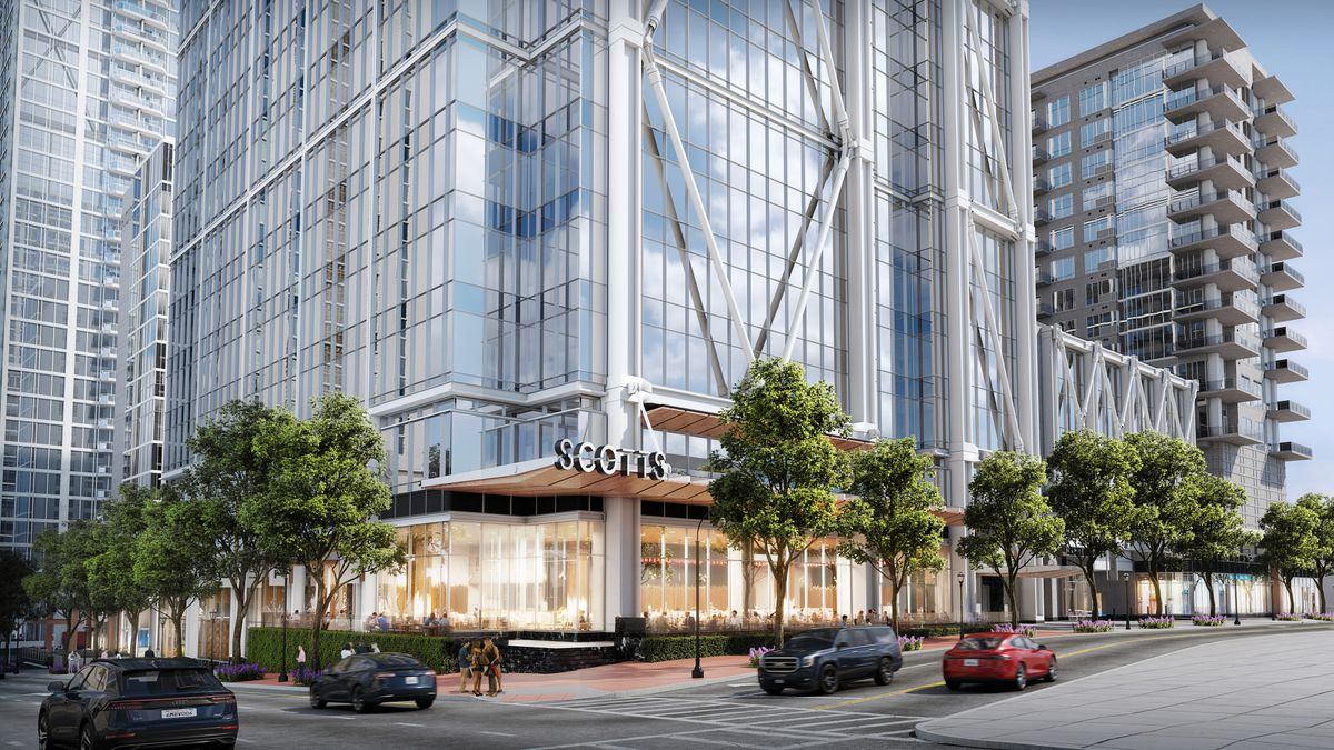 A rendering shows retail space fronted by trees beneath the glassy office tower.