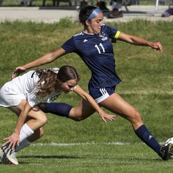 Action in the Region 6 girls soccer game between Murray and Skyline in Salt Lake City on Tuesday, Sept. 17, 2019.